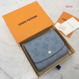 LOUIS VUITTON - 19SS LV ライトブルー ロゴ コンパクト 二つ折り 折りたたみミニ財布