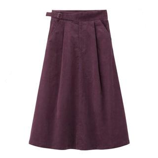ジーユー(GU)の【新品】GU コーデュロイフレアスカート パープル M(ロングスカート)