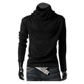 Tシャツ 長袖 アフガン タートルネック カジュアル メンズ シンプル ブラック