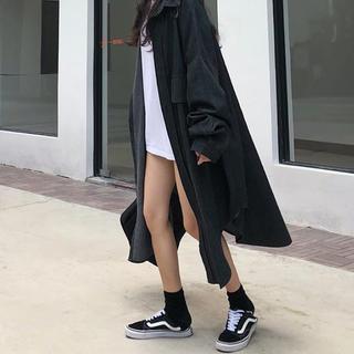 ザラ(ZARA)のデニムオーバーサイズシャツ ブラック(シャツ/ブラウス(長袖/七分))