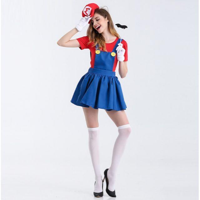 即日発送キャラクター風セット大人パーティーコスプレ マリオ ルイージ レディースのフォーマル/ドレス(ミニドレス)の商品写真