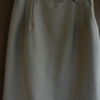 難あり美品 タイトスカート 膝丈 ベージュ 毛100% 秋冬物 90年代(ひざ丈スカート)