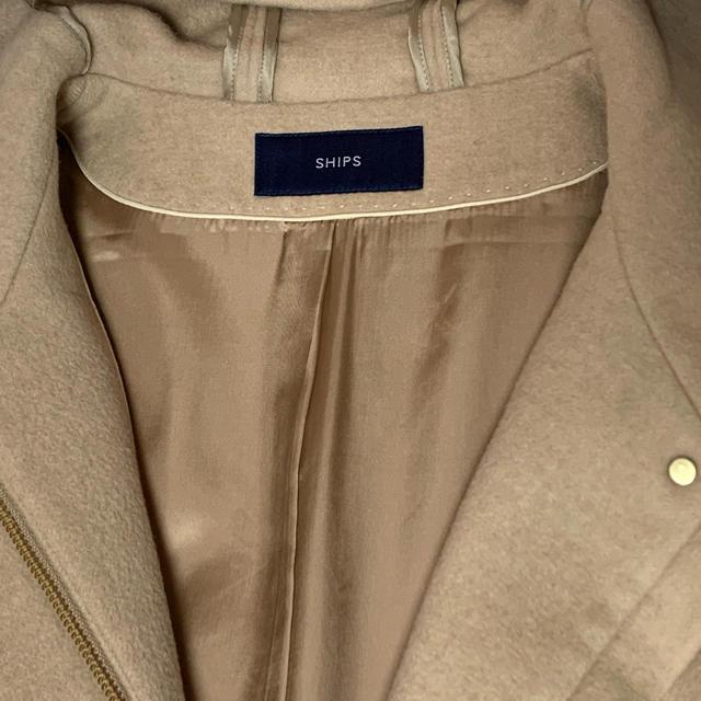 SHIPS(シップス)のSHIPS アンゴラ フード コート 36S ベージュ レディースのジャケット/アウター(ロングコート)の商品写真
