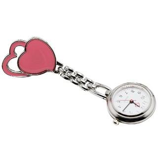 【ナースウォッチ】 ハート柄 クリップ式 逆さ文字盤 ピンク(腕時計)