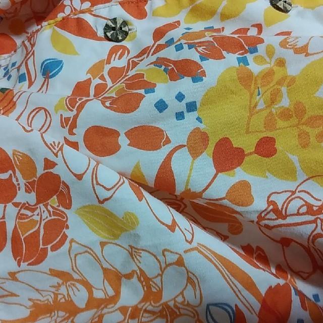 かりゆしウェアー Kukuru 月桃柄 オレンジ  レディースのトップス(シャツ/ブラウス(半袖/袖なし))の商品写真
