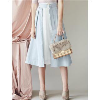 マーキュリーデュオ(MERCURYDUO)のMERCURY DUO 新品タグ付き プリーツドッキングラップスカート(ひざ丈スカート)