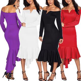 ◆新品◆上質厚手◆インポートオフショルマーメイドミディアムドレス◆赤(ミディアムドレス)