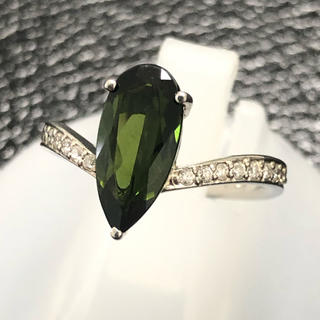 トルマリン ダイヤモンド リング 指輪 pt900 プラチナ900 グリーン(リング(指輪))