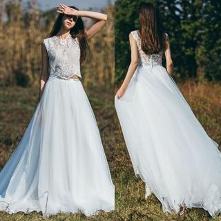 美品!ウエディングドレス ホワイト レース ツーピース  人気上昇 エレガント