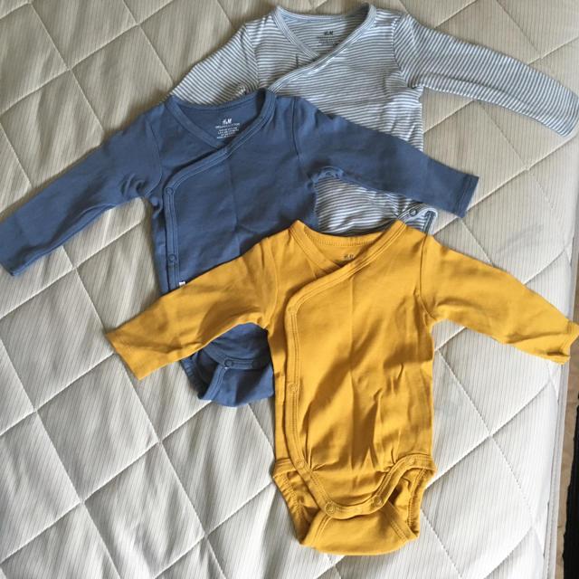 H&M(エイチアンドエム)のH&M ☆長袖ロンパース 3枚セット キッズ/ベビー/マタニティのベビー服(~85cm)(ロンパース)の商品写真