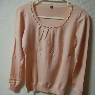 ピンク色長袖ビジュー付きニット(ニット/セーター)