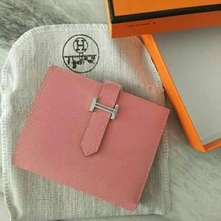 Hermes - 可愛い 二折財布 ローズさくら ベアン コンパクト 財布 ピンク SV金具