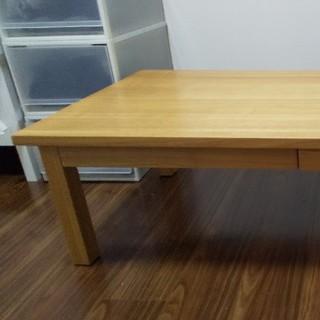 ムジルシリョウヒン(MUJI (無印良品))の無垢材ローテーブル(引出付)・オーク材(ローテーブル)