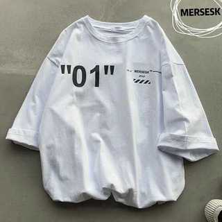 L/ホワイト半袖Tシャツ 綿  ロゴ プリント カジュアル ビッグシルエット(Tシャツ(半袖/袖なし))