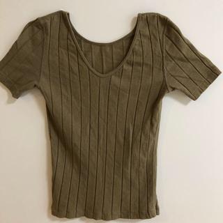 トゥモローランド(TOMORROWLAND)のGalerievie リブTシャツ カーキ(Tシャツ(半袖/袖なし))