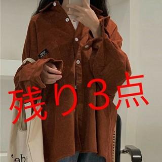 コーデュロイシャツ【XL】長袖シャツブラウン(シャツ/ブラウス(長袖/七分))