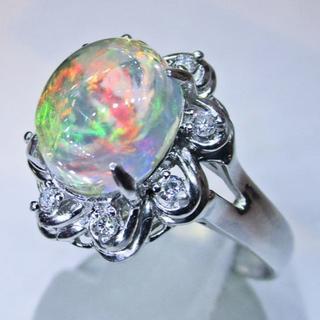再値下げ※高品質天然メキシコオパールデザインリング(リング(指輪))