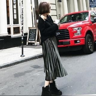 dholic - 人気のベロア調 ロング丈 プリーツスカート
