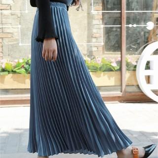 dholic - 人気のロング丈 プリーツスカート ブルー