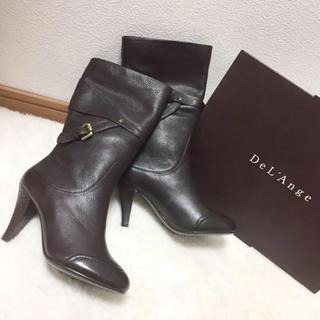 新品 DeL'Ange 高級 デザイン ブーツ 大人スタイル ダークブラウン22(ブーツ)