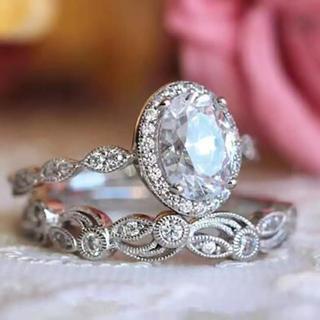 ☆15号スターリングダブル/ホワイトCZダイヤモンドリング2個セット(リング(指輪))