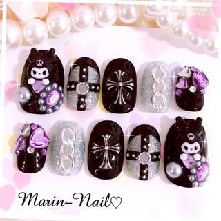 ♡オーダーネイル♡クロス×チェーンモチーフのキラキラネイル♡黒×紫♡