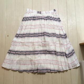 マーキュリーデュオ(MERCURYDUO)のMERCURYDUO*プリーツボーダースカート*新品(ひざ丈スカート)