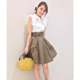 トランテアンソンドゥモード(31 Sons de mode)の美シルエット♡タイプライタースカート♡カーキ(ひざ丈スカート)
