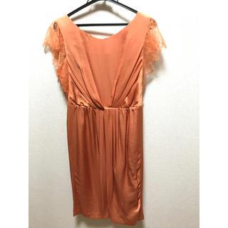 ユナイテッドアローズ(UNITED ARROWS)の結婚式 二次会 オレンジ レース ドレス ワンピース(ミディアムドレス)