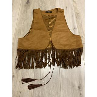 フリンジ ベスト ブラウン ハロウィン インディアン ボヘミアン(衣装)