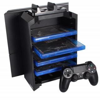 【感謝★特売】PS4 多機能 縦置きスタンド ソフト収納型