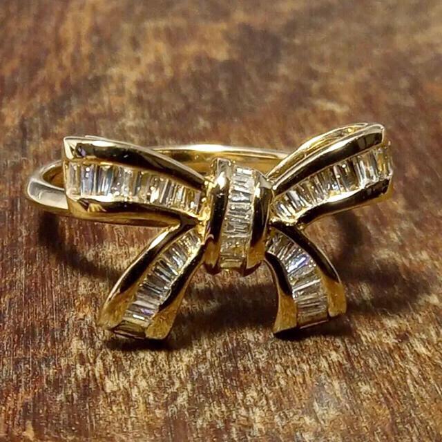 K18 YG ダイヤモンドピンキーリング【新品】 レディースのアクセサリー(リング(指輪))の商品写真
