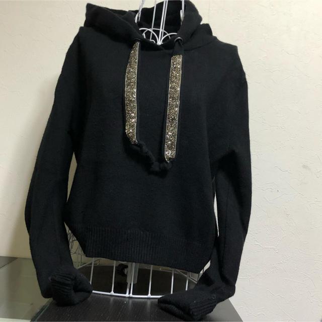 ZARA(ザラ)の🌼ZARA🌼人気ニットパーカー🌼ブラック レディースのトップス(ニット/セーター)の商品写真