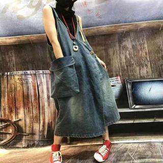 ⭐️即購入歓迎⭐️Vネック デニムストラップ キャミスカート ジャンバースカート