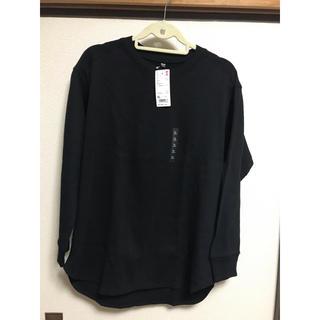 ユニクロ(UNIQLO)のUNIQLO コットンリブクルーネックT  09  BLACK(Tシャツ(長袖/七分))