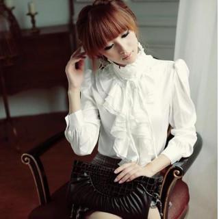 ホワイト XL レディース フリル ブラウス ハイネック リボン付き 詰襟(シャツ/ブラウス(長袖/七分))