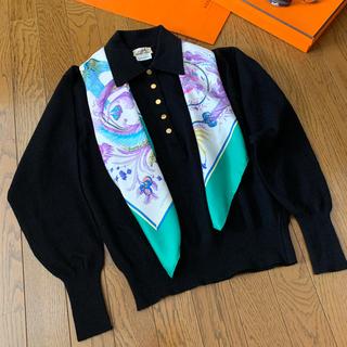 エルメス(Hermes)のエルメス HERMES カシミア 開襟 ニット 黒 セーター(ニット/セーター)
