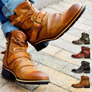 【新品】メンズ ブーツ ドレープブーツ 25~28cm 4色展開