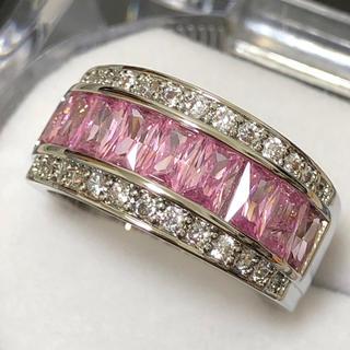 ピンクサファイア&ジルコニア キラキラワイドリング シルバー 指輪(リング(指輪))