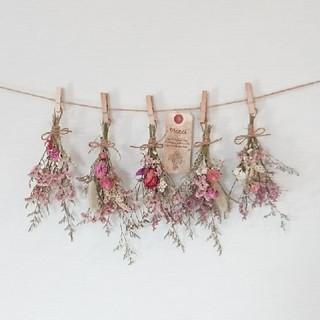 ボリューム 可憐小花のピンク系 ドライフラワーガーランド/かすみ草 千日紅(ドライフラワー)