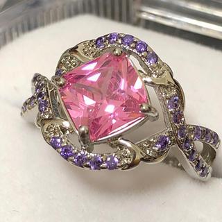 レディースシルバーリング 大ぶりピンクジルコニア 指輪(リング(指輪))