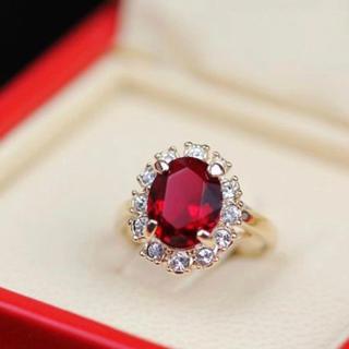 レッドCZダイヤモンドリング 指輪(リング(指輪))