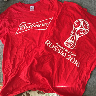FIFAWORLDCUP ロゴ入りTシャツ 赤(Tシャツ/カットソー(半袖/袖なし))