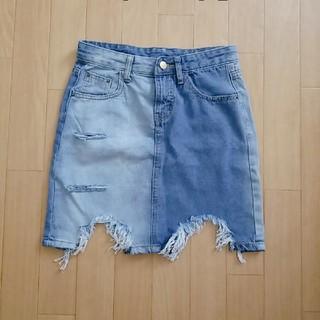 グレイル(GRL)のクラッシュデニム 配色スカート(ミニスカート)
