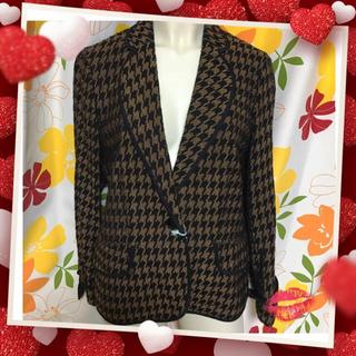 ミラショーン(mila schon)の【ミラショーンの千鳥模様のジャケットXL♡美品】(テーラードジャケット)