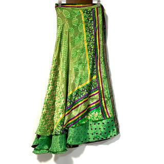 インドサリー シルク 巻きスカート119◆ エスニック 民族衣装 サリー