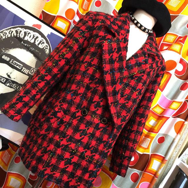 70年代レトロ パンク 赤チェック ツイードジャケット レディースのジャケット/アウター(テーラードジャケット)の商品写真