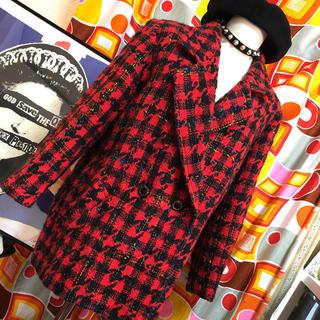 70年代レトロ パンク 赤チェック ツイードジャケット(テーラードジャケット)