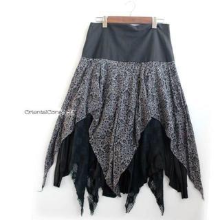 ぎざぎざヘムライン・3種レイヤード・変形フレアスカート☆(ロングスカート)