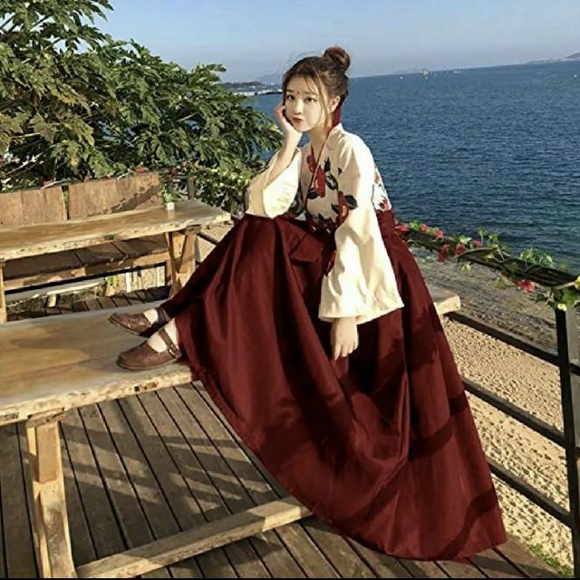 Lサイズ 椿 花柄 袴 上下セット レターパックプラス レディースの水着/浴衣(着物)の商品写真